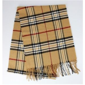V. FRAAS Cashmink Check Plaid Fringe Scarf